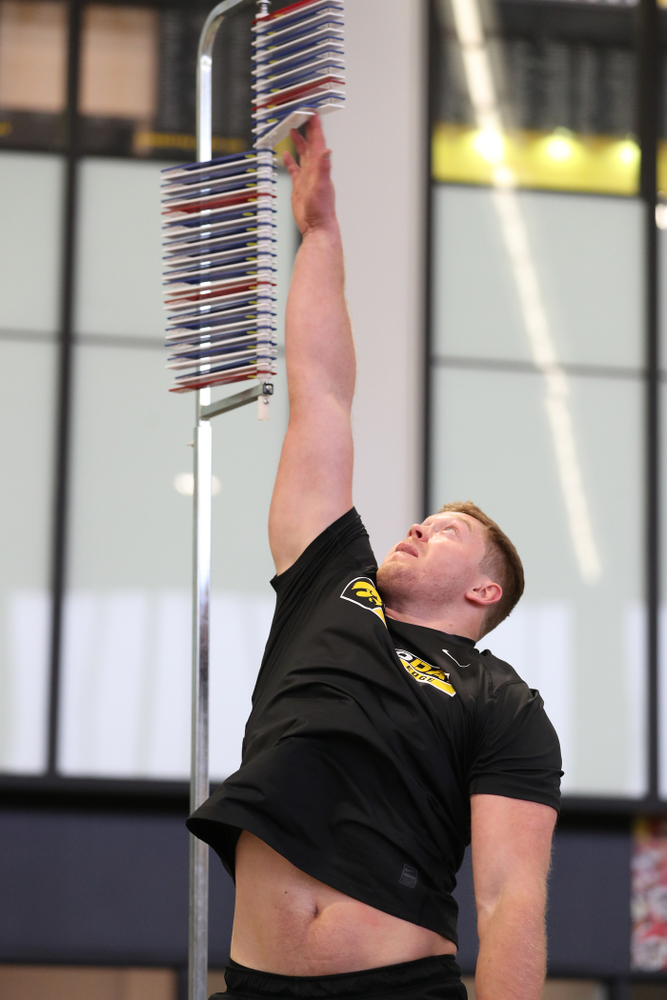 Iowa Hawkeyes defensive end Parker Hesse (40) during the teamÕs annual Pro Day Monday, March 25, 2019 at the Hansen Football Performance Center. (Brian Ray/hawkeyesports.com)
