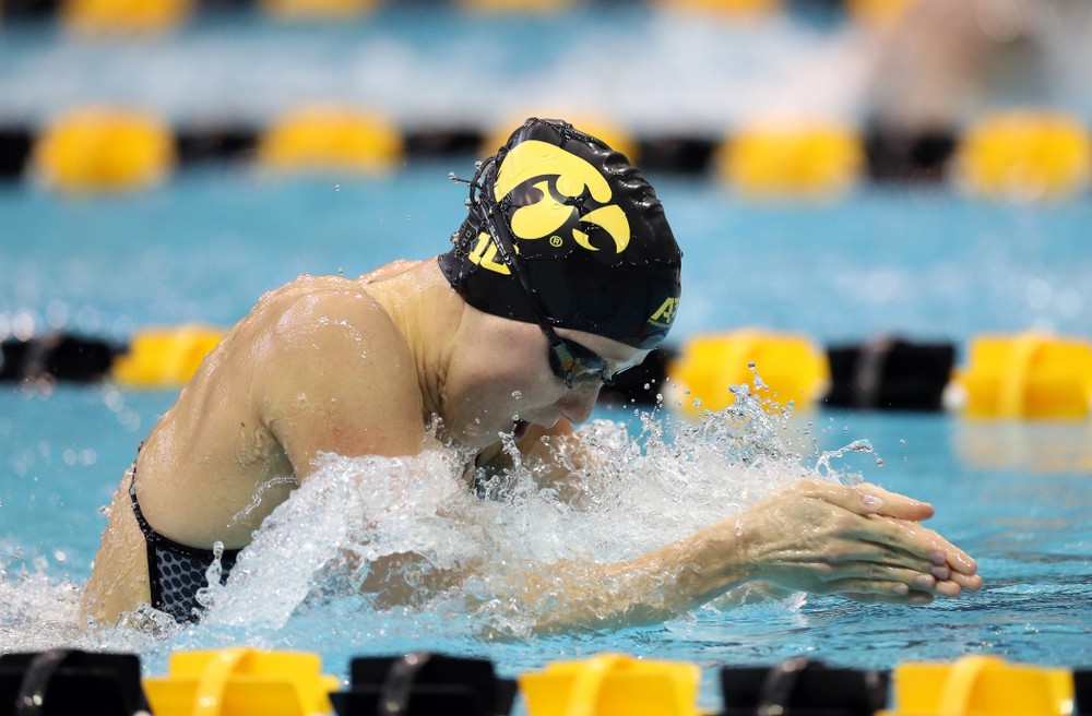 IowaÕs Aleksandra Olesiak swims the 100 yard breaststroke against the Michigan Wolverines Friday, November 1, 2019 at the Campus Recreation and Wellness Center. (Brian Ray/hawkeyesports.com)