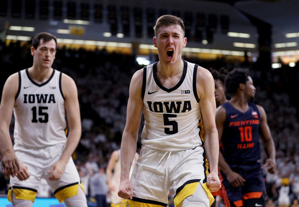 Iowa Hawkeyes guard CJ Fredrick (5) reacts after drawing a foul against the Illinois Fighting Illini Sunday, February 2, 2020 at Carver-Hawkeye Arena. (Brian Ray/hawkeyesports.com)
