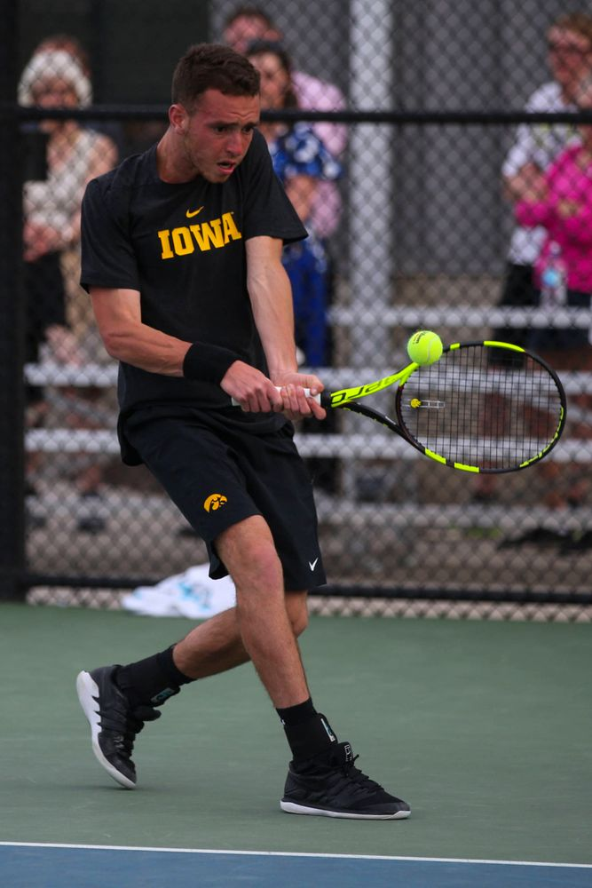 IowaÕs Kareem Allaf at tennis vs Illinois State on Sunday, April 21, 2019 at the Hawkeye Tennis and Recreation Complex. (Lily Smith/hawkeyesports.com)