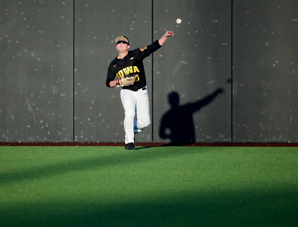 Iowa right fielder Zeb Adreon (5) throws the ball back to the infield during the fifth inning of their game at Duane Banks Field in Iowa City on Tuesday, March 3, 2020. (Stephen Mally/hawkeyesports.com)