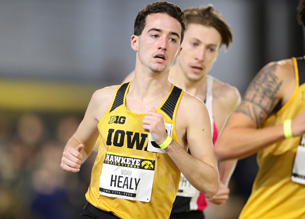 Iowa's Noah Healy runs the men's 1 mile run event during the Hawkeye Invitational at the Recreation Building in Iowa City on Saturday, January 11, 2020. (Stephen Mally/hawkeyesports.com)