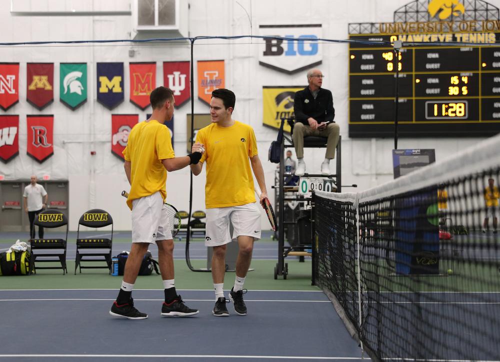 Jonas Larsen and Kareem Allaf against Utah Sunday, February 10, 2019 at the Hawkeye Tennis and Recreation Complex. (Brian Ray/hawkeyesports.com)
