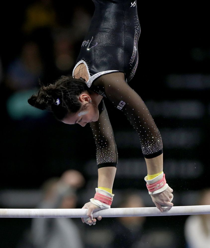 Iowa's Carina Tolan competes on the bars against Michigan State Saturday, February 1, 2020 at Carver-Hawkeye Arena. (Brian Ray/hawkeyesports.com)