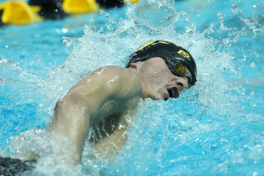 Iowa's Tom Schab swims the 500 yard freestyle Thursday, November 15, 2018 during the 2018 Hawkeye Invitational at the Campus Recreation and Wellness Center. (Brian Ray/hawkeyesports.com)