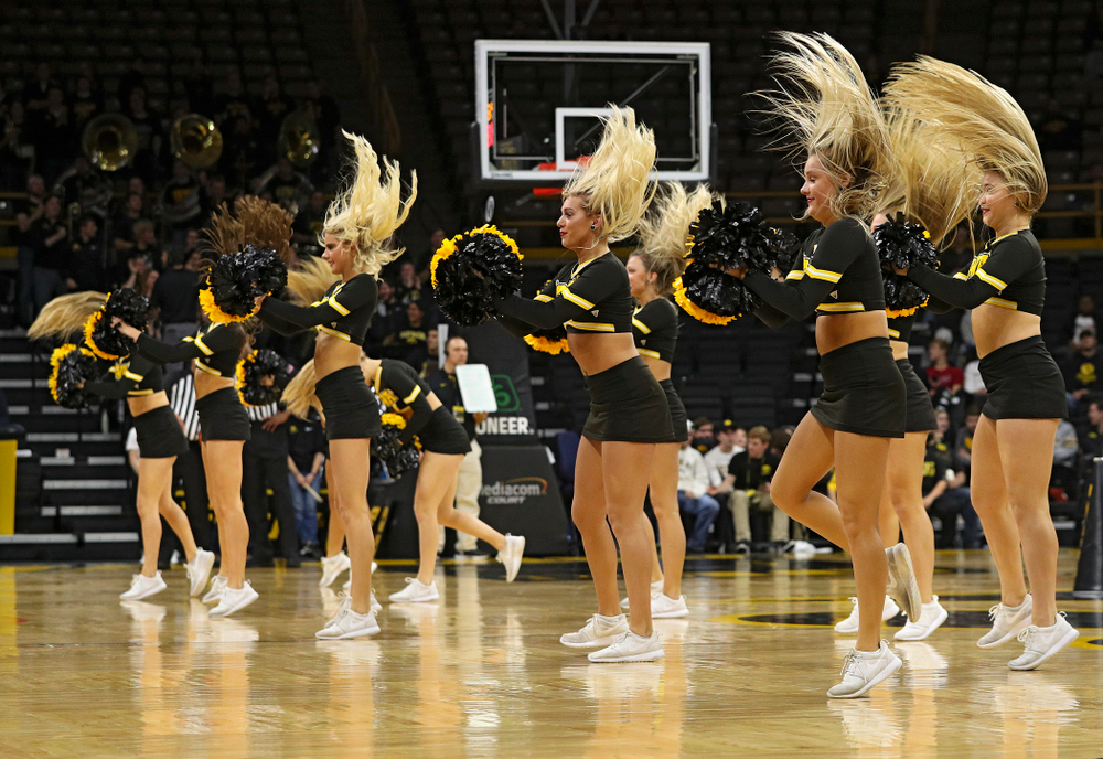 The Iowa Dance Team performs during the second half of their exhibition game against Lindsey Wilson College at Carver-Hawkeye Arena in Iowa City on Monday, Nov 4, 2019. (Stephen Mally/hawkeyesports.com)