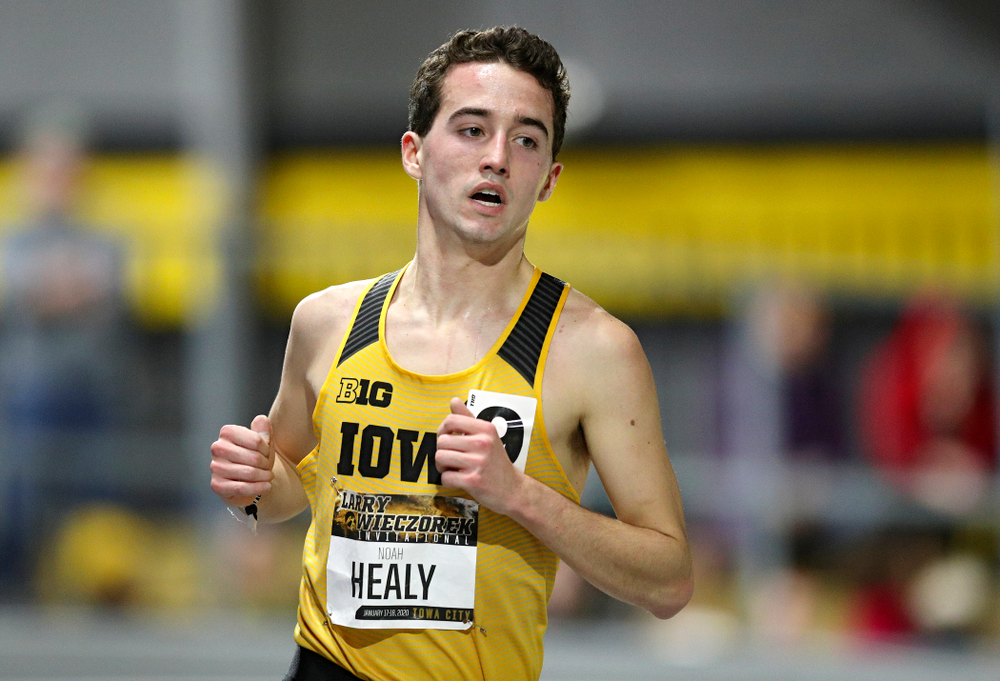 Iowa's Noah Healy runs the men's 3000 meter run premier event during the Larry Wieczorek Invitational at the Recreation Building in Iowa City on Saturday, January 18, 2020. (Stephen Mally/hawkeyesports.com)