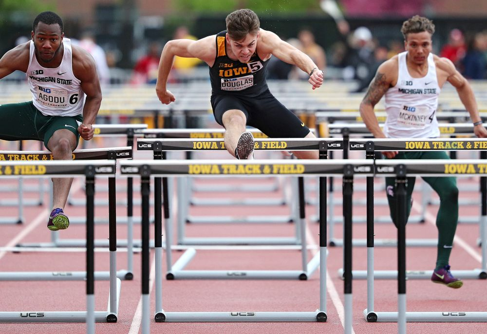Iowa's Chris Douglas runs the men's 110 meter hurdles event on the second day of the Big Ten Outdoor Track and Field Championships at Francis X. Cretzmeyer Track in Iowa City on Saturday, May. 11, 2019. (Stephen Mally/hawkeyesports.com)
