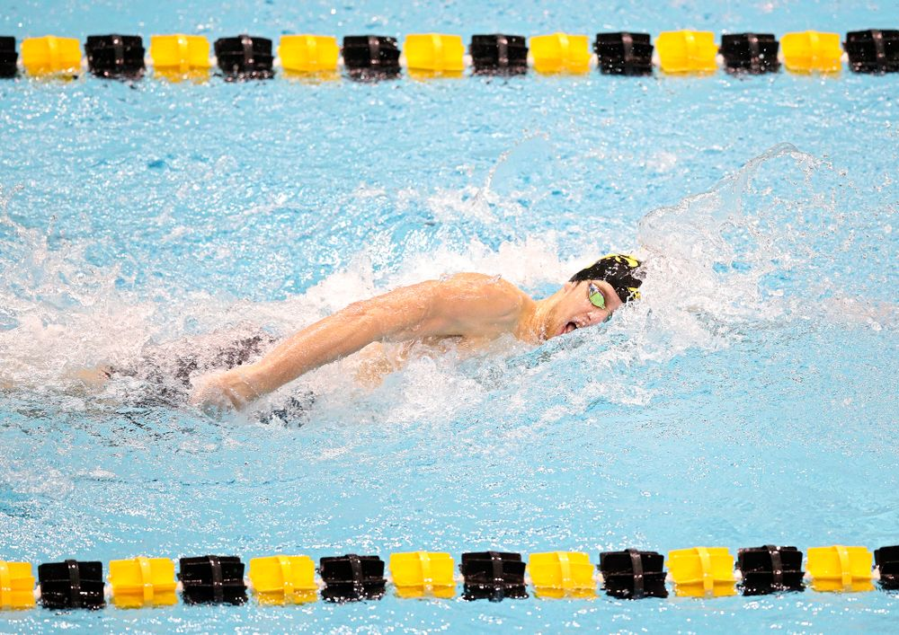 Iowa's Jackson Allmon swims the men's 200 yard freestyle event during their meet at the Campus Recreation and Wellness Center in Iowa City on Friday, February 7, 2020. (Stephen Mally/hawkeyesports.com)
