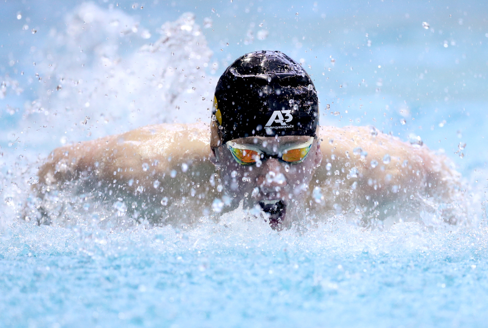 Iowa's John Colin competes in the 100-yard butterfly on the third day at the 2019 Big Ten Swimming and Diving Championships Thursday, February 28, 2019 at the Campus Wellness and Recreation Center. (Brian Ray/hawkeyesports.com)