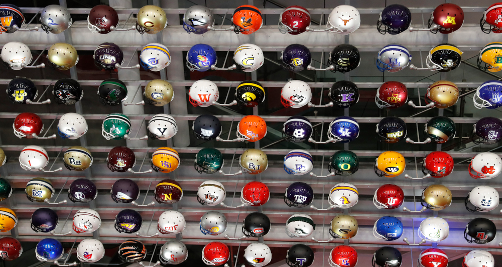 Helmet display at the College Football Hall of Fame.