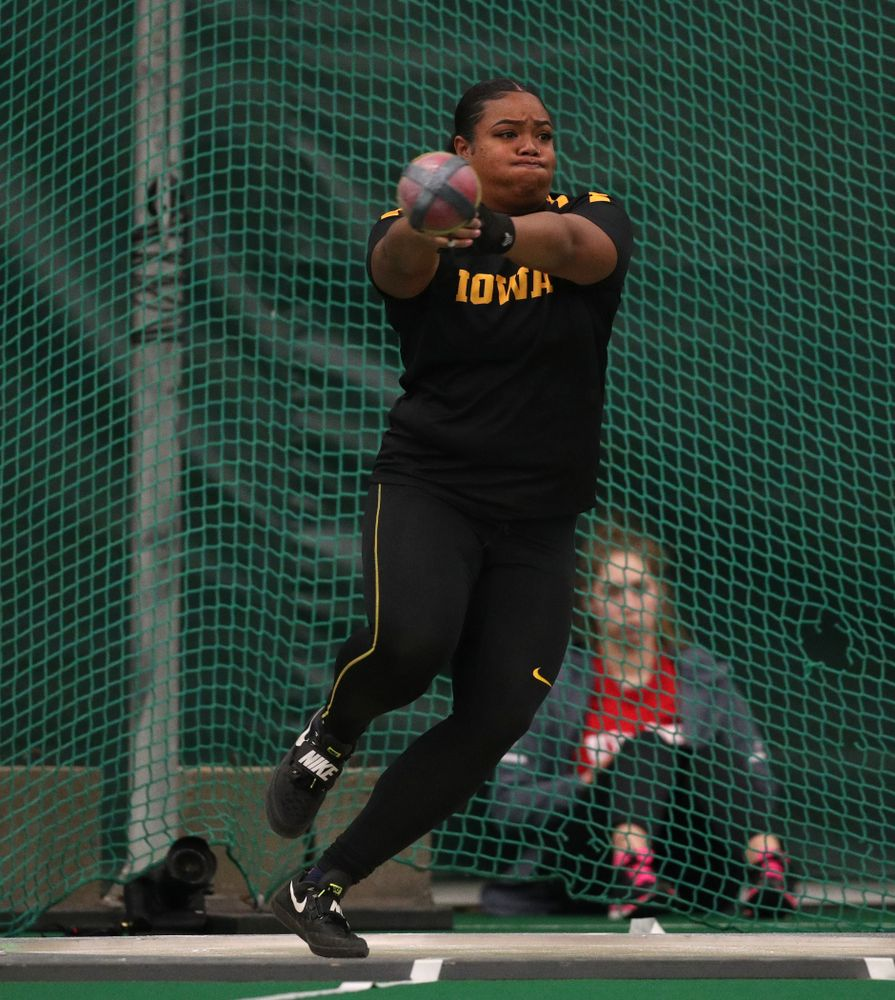 Iowa's Laulauga Tausaga sets a school record in the weight throw  Friday, January 11, 2019 at the Hawkeye Tennis and Recreation Center. Tausaga set the new mark with a throw of 20.67m, 67-9 3/4. (Brian Ray/hawkeyesports.com)