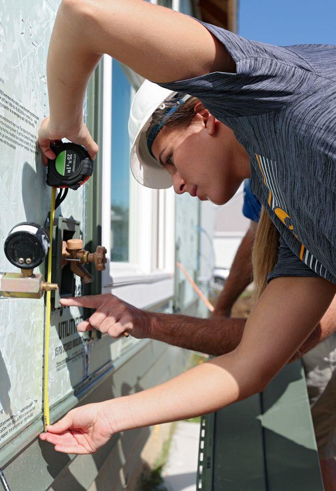 Iowa's Megan Meyer works on a Habitat for Humanity Women Build project in Iowa City on Wednesday, Sep 25, 2019. (Stephen Mally/hawkeyesports.com)