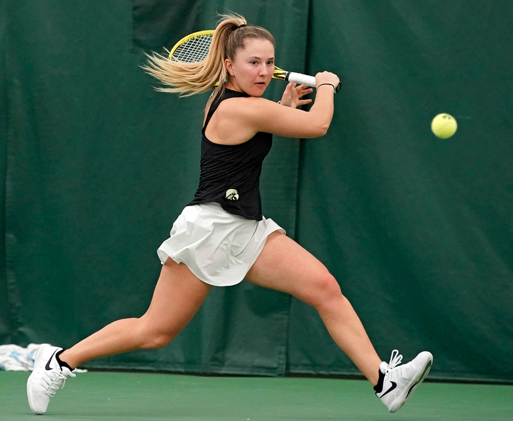 Iowa's Danielle Burich plays a match against Indiana at the Hawkeye Tennis and Recreation Complex in Iowa City on Sunday, Mar. 31, 2019. (Stephen Mally/hawkeyesports.com)