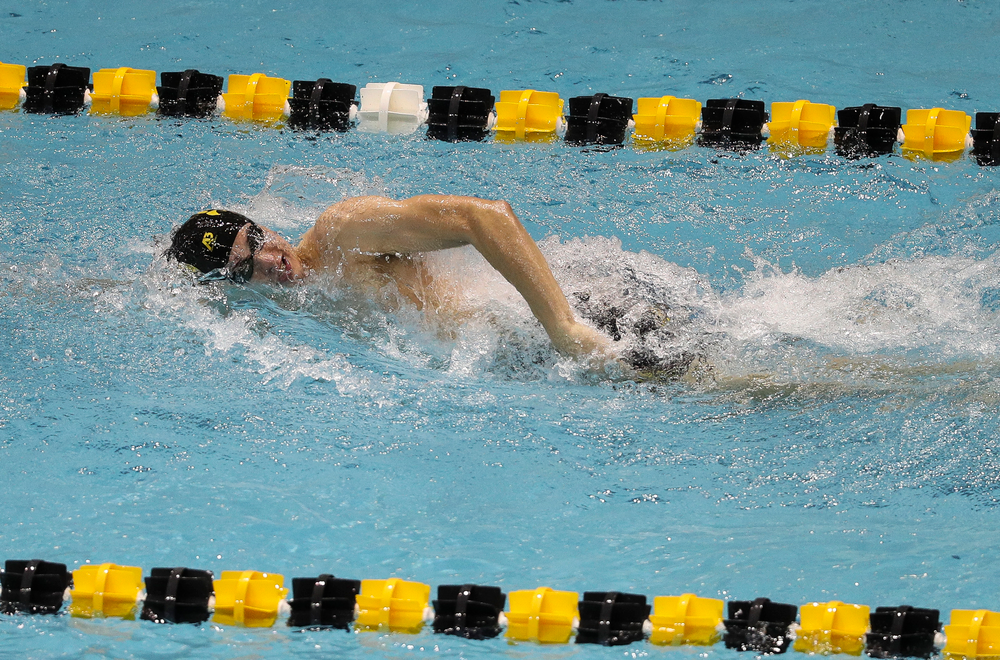 Iowa's William Scott competes in the 200-yard freestyle during the third day of the Hawkeye Invitational at the Campus Recreation and Wellness Center on November 16, 2018. (Tork Mason/hawkeyesports.com)