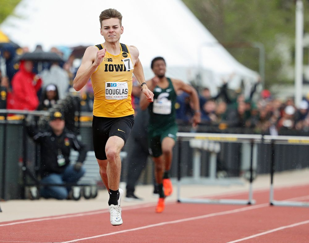Iowa's Chris Douglas runs the men's 400 meter hurdles event on the third day of the Big Ten Outdoor Track and Field Championships at Francis X. Cretzmeyer Track in Iowa City on Sunday, May. 12, 2019. (Stephen Mally/hawkeyesports.com)