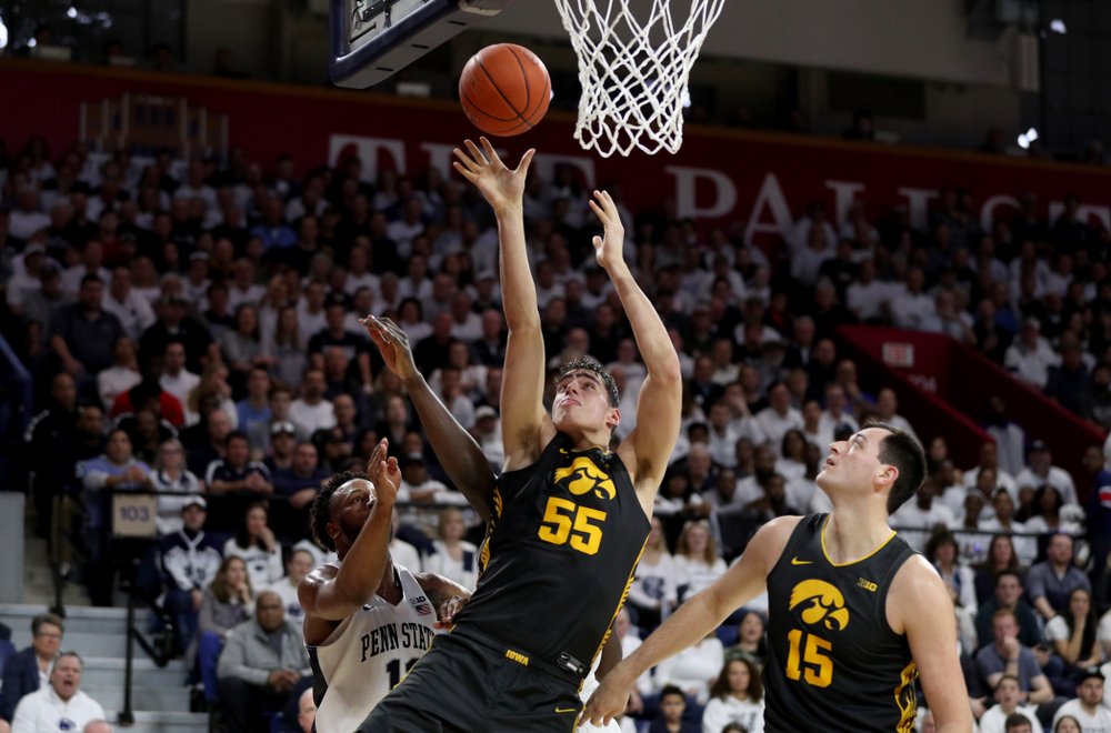 Iowa Hawkeyes forward Luka Garza (55) puts up a shot against Penn State Friday, January 3, 2020 at the Palestra in Philadelphia. (Brian Ray/hawkeyesports.com)