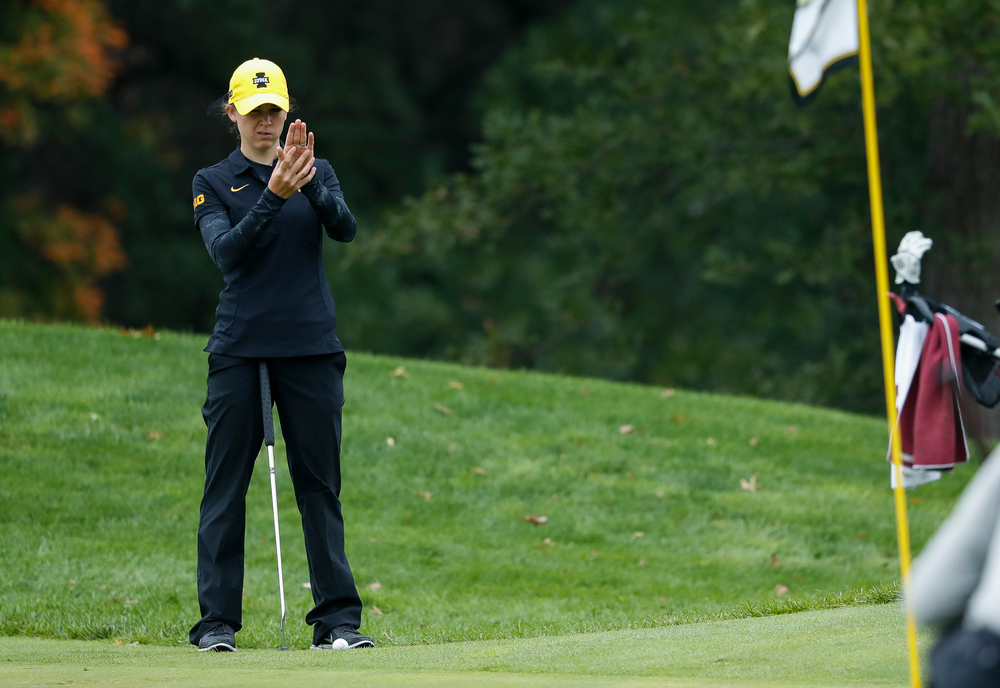 Iowa's Brett Permann lines up a putt during the final round of the Diane Thomason Invitational at Finkbine Golf Course on September 30, 2018. (Tork Mason/hawkeyesports.com)