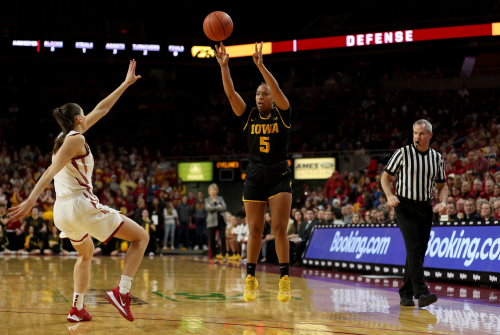 Iowa Hawkeyes guard Alexis Sevillian (5) against the Iowa State Cyclones Wednesday, December 11, 2019 at Hilton Coliseum in Ames, Iowa(Brian Ray/hawkeyesports.com)