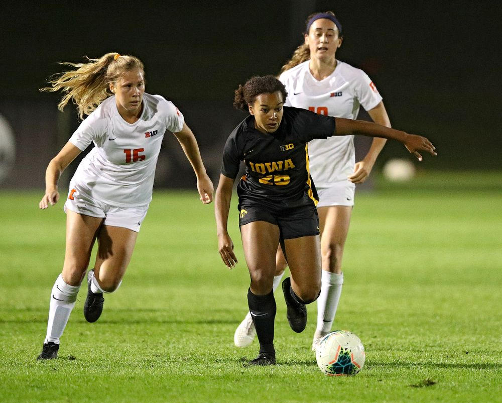 Iowa midfielder/forward Melina Hegelheimer (26) moves with the ball during the second half of their match against Illinois at the Iowa Soccer Complex in Iowa City on Thursday, Sep 26, 2019. (Stephen Mally/hawkeyesports.com)