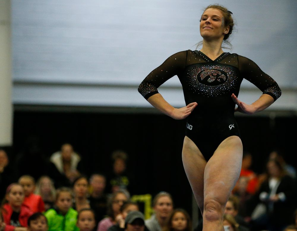 Sydney Hogan competes in the floor exercise during the Black and Gold Intrasquad meet at the Field House on 12/2/17. (Tork Mason/hawkeyesports.com)