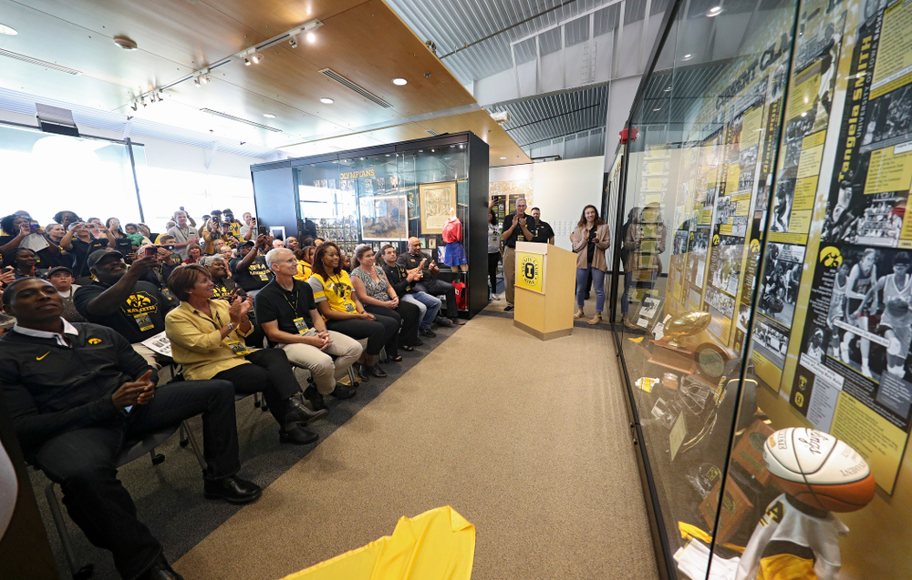 The 2019 University of Iowa Athletics Hall of Fame exhibit is unveiled at the University of Iowa Athletics Hall of Fame in Iowa City on Friday, Aug 30, 2019. (Stephen Mally/hawkeyesports.com)
