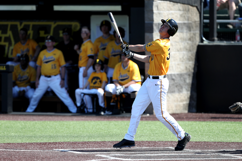 Iowa Hawkeyes Connor McCaffery (30) hits a home run against the Nebraska Cornhuskers Sunday, April 21, 2019 at Duane Banks Field. (Brian Ray/hawkeyesports.com)