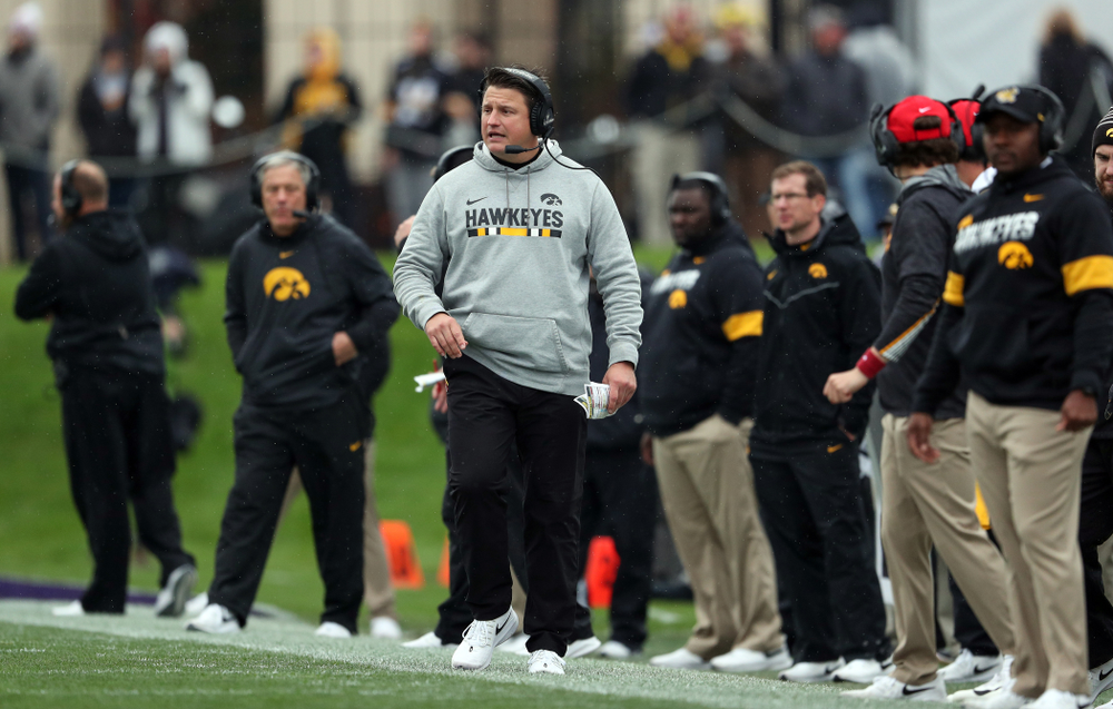 Iowa Hawkeyes offensive coordinator Brian Ferentz  against the Northwestern Wildcats Saturday, October 26, 2019 at Ryan Field in Evanston, Ill. (Brian Ray/hawkeyesports.com)