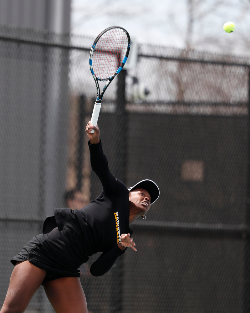 Iowa's Adorabol Huckleby against the Wisconsin Badgers Sunday, April 22, 2018 at the Hawkeye Tennis and Recreation Center. (Brian Ray/hawkeyesports.com)