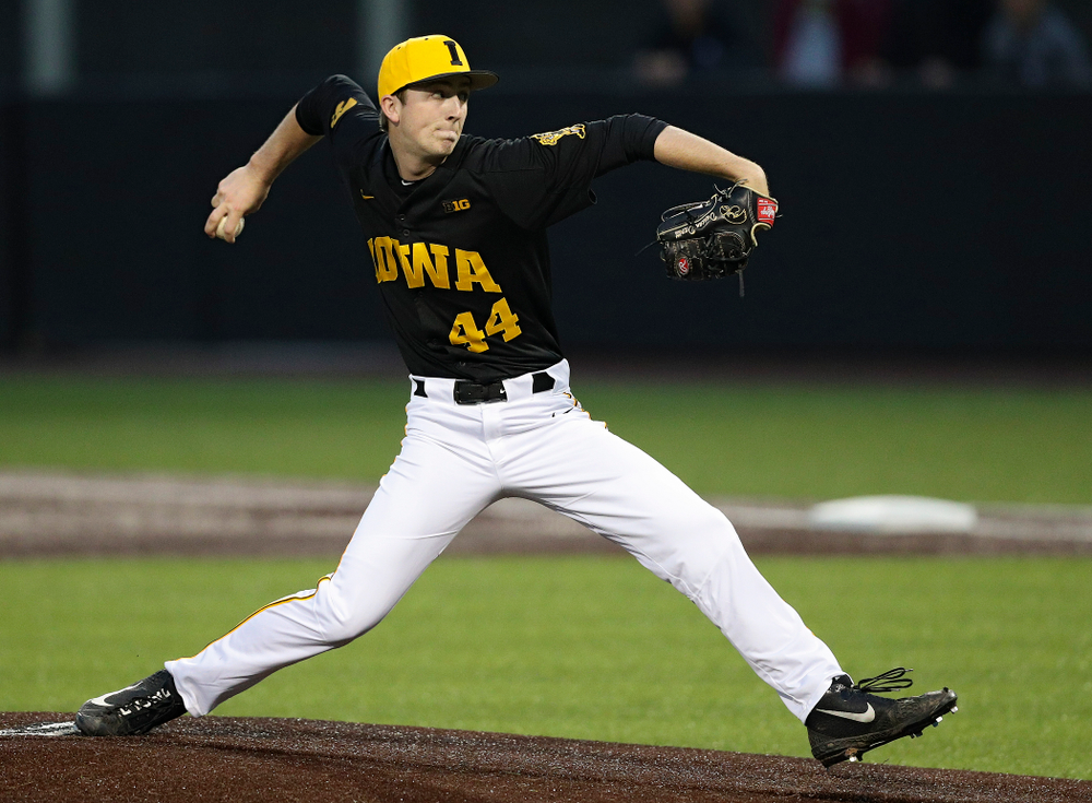 Iowa Hawkeyes pitcher Duncan Davitt (44) delivers to the plate for a strikeout during the sixth inning of their game against Western Illinois at Duane Banks Field in Iowa City on Wednesday, May. 1, 2019. (Stephen Mally/hawkeyesports.com)