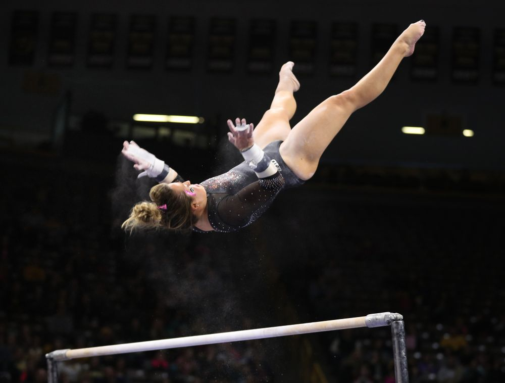 Iowa's Maddie Kampschroeder competes on the bars during their meet against the Minnesota Golden Gophers Saturday, January 19, 2019 at Carver-Hawkeye Arena. (Brian Ray/hawkeyesports.com)
