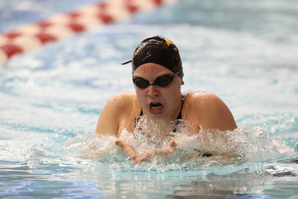 Iowa's Natalie McGovern swims the 200-yard IM during the 2019 Women's Big Ten Swimming and Diving meet Thursday, February 21, 2019 in Bloomington, Indiana. (Brian Ray/hawkeyesports.com)