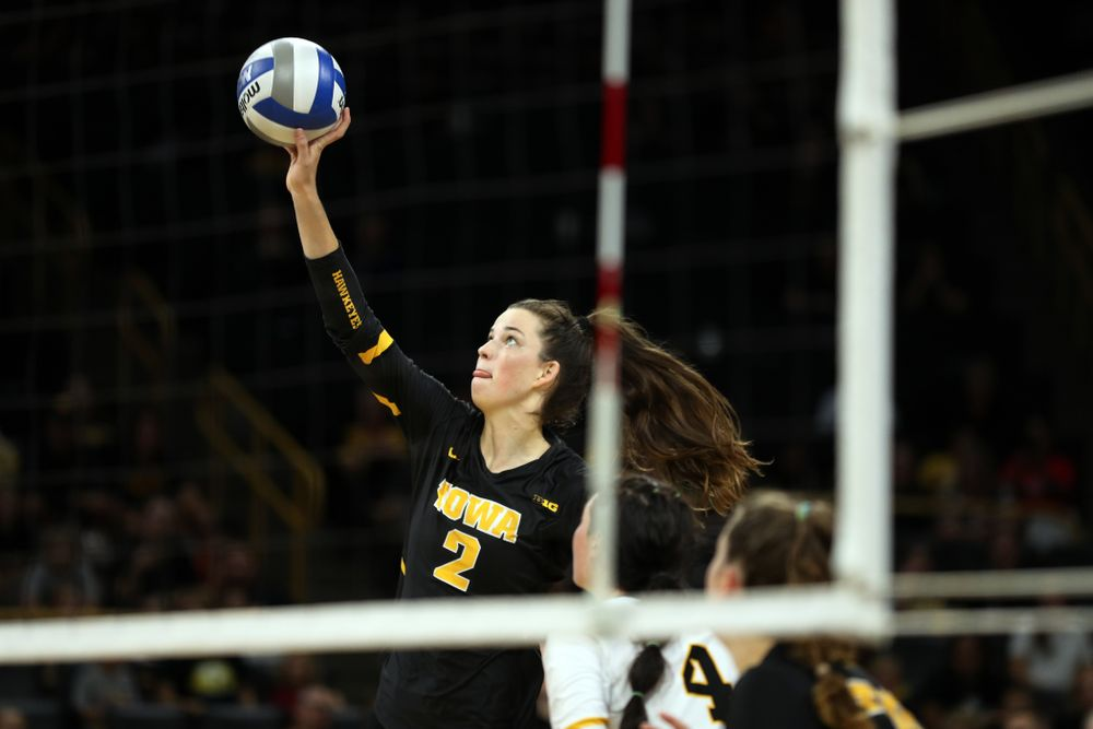 Iowa Hawkeyes setter Courtney Buzzerio (2) against the Iowa State Cyclones Saturday, September 21, 2019 at Carver-Hawkeye Arena. (Brian Ray/hawkeyesports.com)