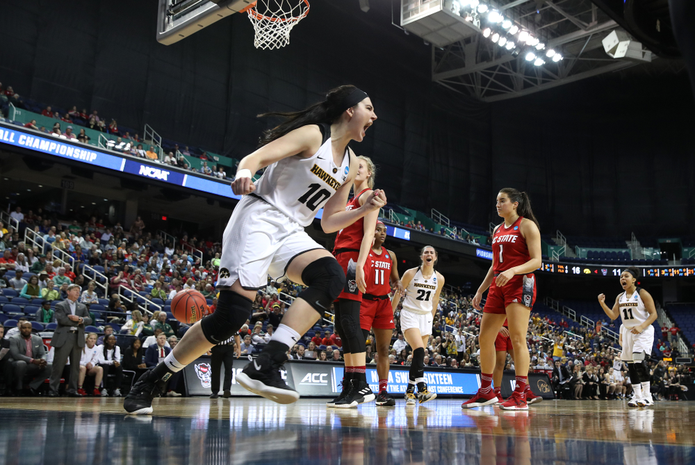 Iowa Hawkeyes forward Megan Gustafson (10) against the NC State Wolfpack in the regional semi-final of the 2019 NCAA Women's College Basketball Tournament Saturday, March 30, 2019 at Greensboro Coliseum in Greensboro, NC.(Brian Ray/hawkeyesports.com)