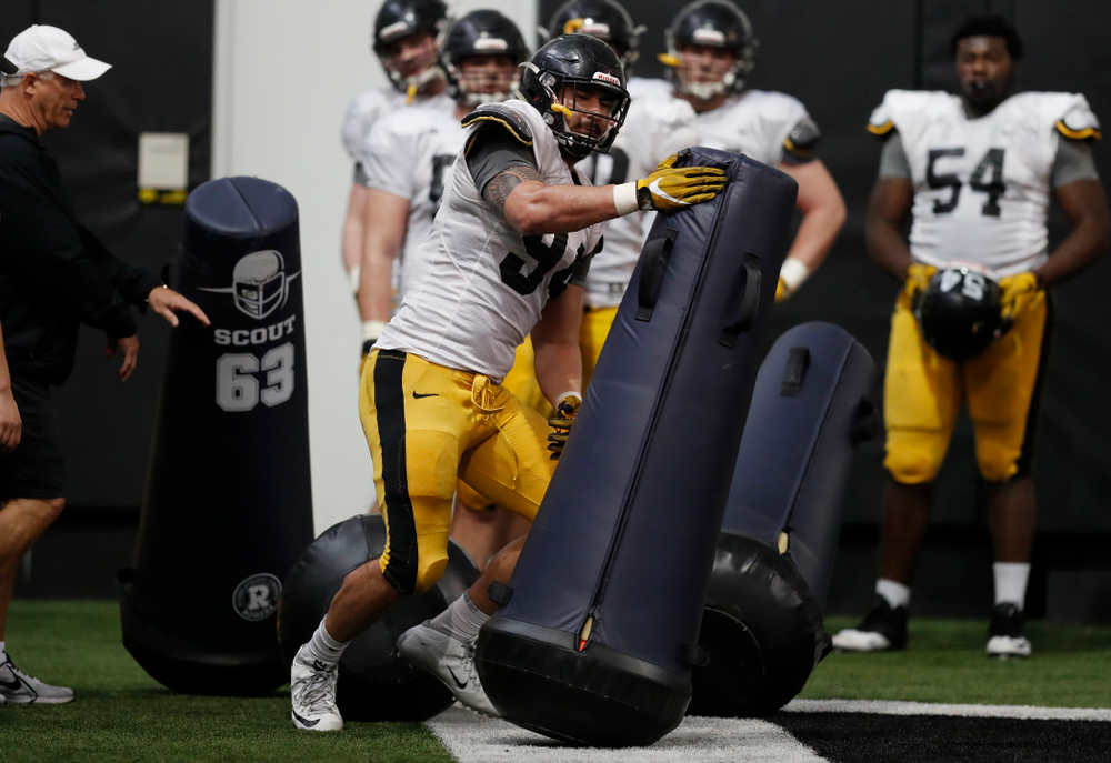 Iowa Hawkeyes defensive end A.J. Epenesa (94) during spring practice Wednesday, March 28, 2018 at the Hansen Football Performance Center.  (Brian Ray/hawkeyesports.com)