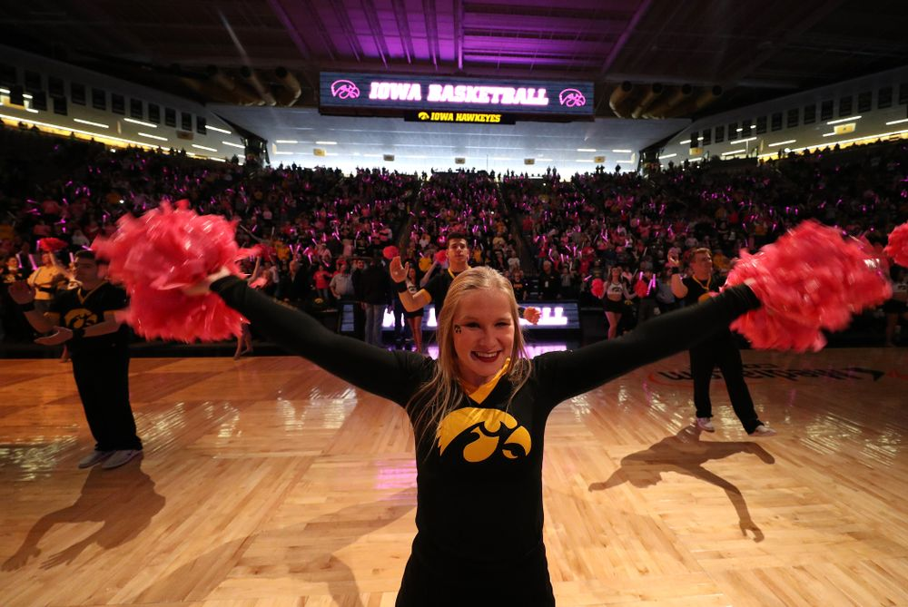 The Iowa Cheerleaders get the fans pumped up for the Hawkeyes game against the seventh ranked Maryland Terrapins Sunday, February 17, 2019 at Carver-Hawkeye Arena. (Brian Ray/hawkeyesports.com)
