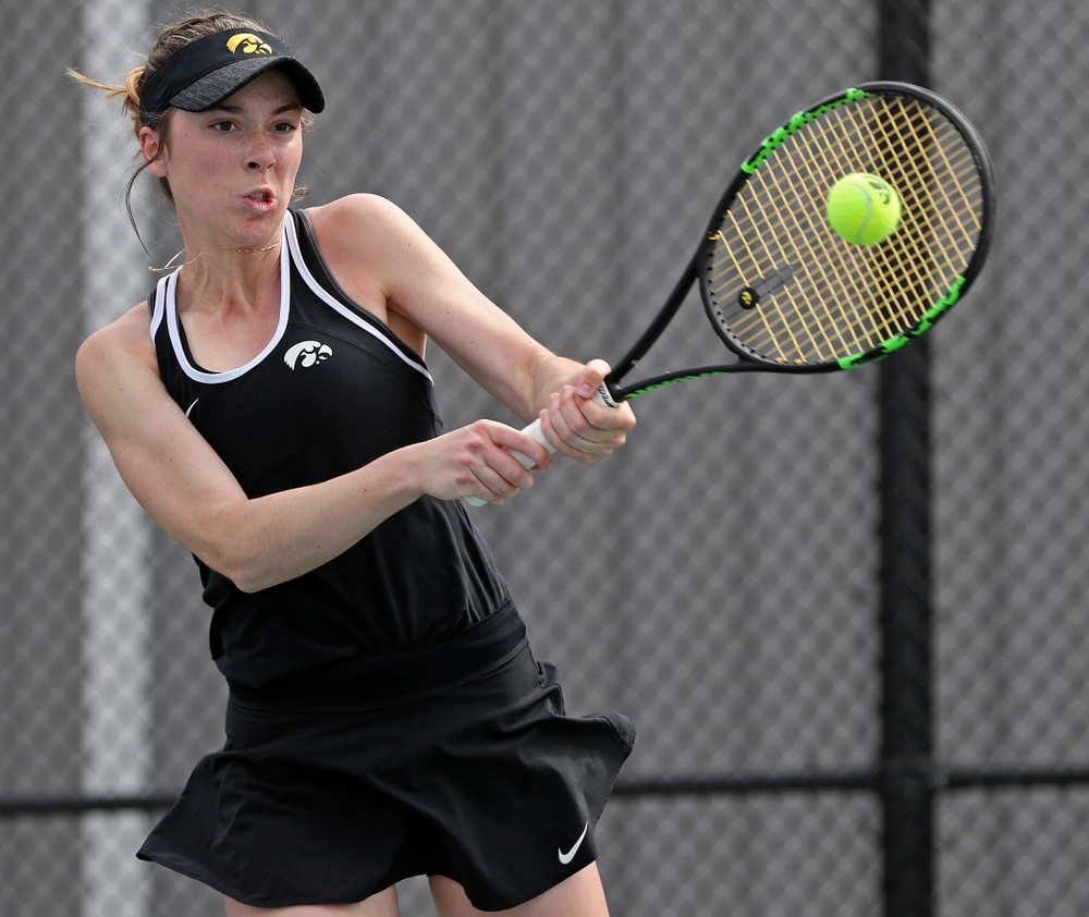 Iowa's Samantha Mannix during a match against Rutgers at the Hawkeye Tennis and Recreation Complex in Iowa City on Friday, Apr. 5, 2019. (Stephen Mally/hawkeyesports.com)
