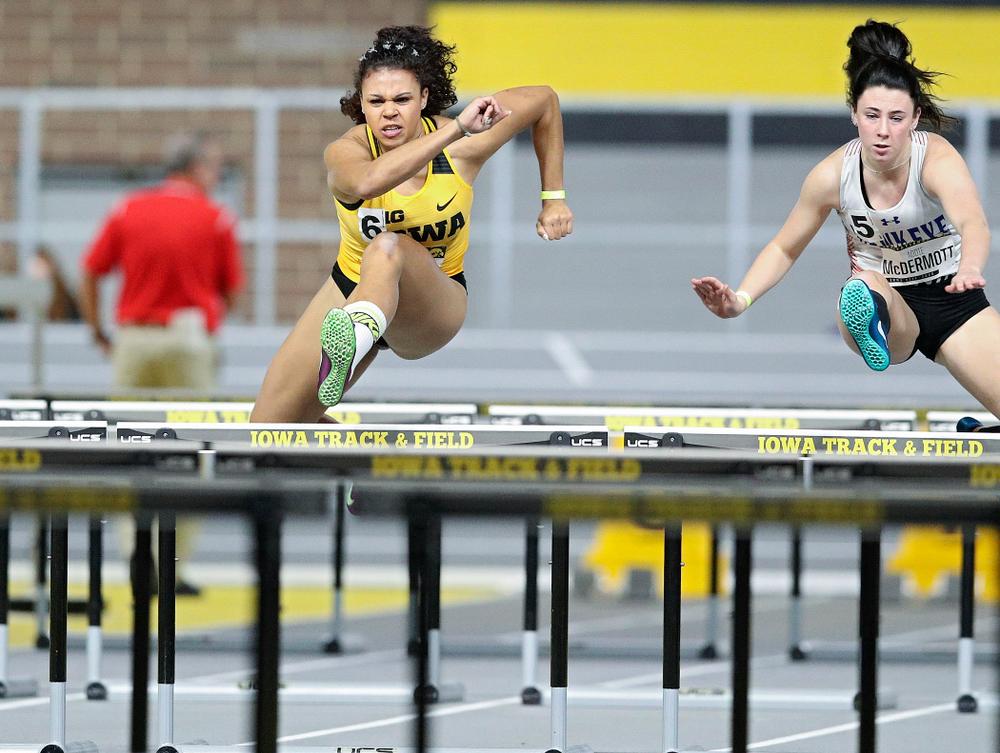 Iowa's Dallyssa Huggins runs in the women's 60 meter hurdles prelim event during the Hawkeye Invitational at the Recreation Building in Iowa City on Saturday, January 11, 2020. (Stephen Mally/hawkeyesports.com)