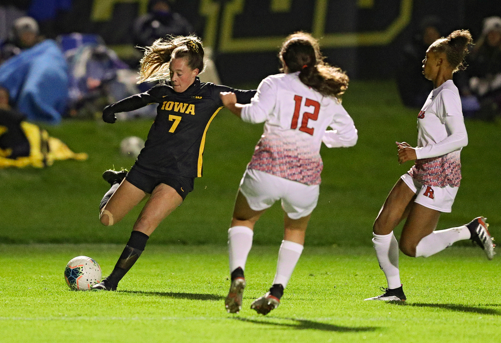 Iowa forward Skylar Alward (7) lines up a shot during the second half of their match at the Iowa Soccer Complex in Iowa City on Friday, Oct 11, 2019. (Stephen Mally/hawkeyesports.com)