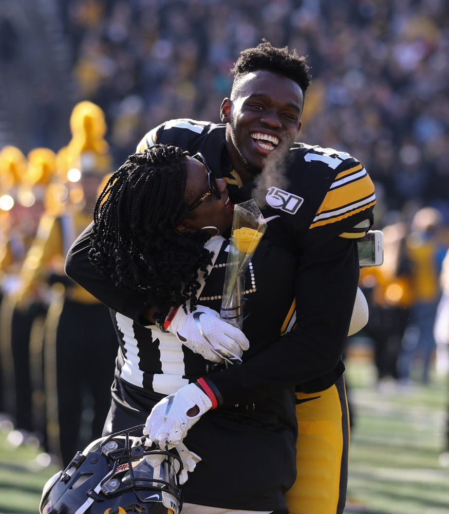 Iowa Hawkeyes defensive back Michael Ojemudia (11) during Senior Day festivities before their game against the Illinois Fighting Illini Saturday, November 23, 2019 at Kinnick Stadium. (Brian Ray/hawkeyesports.com)