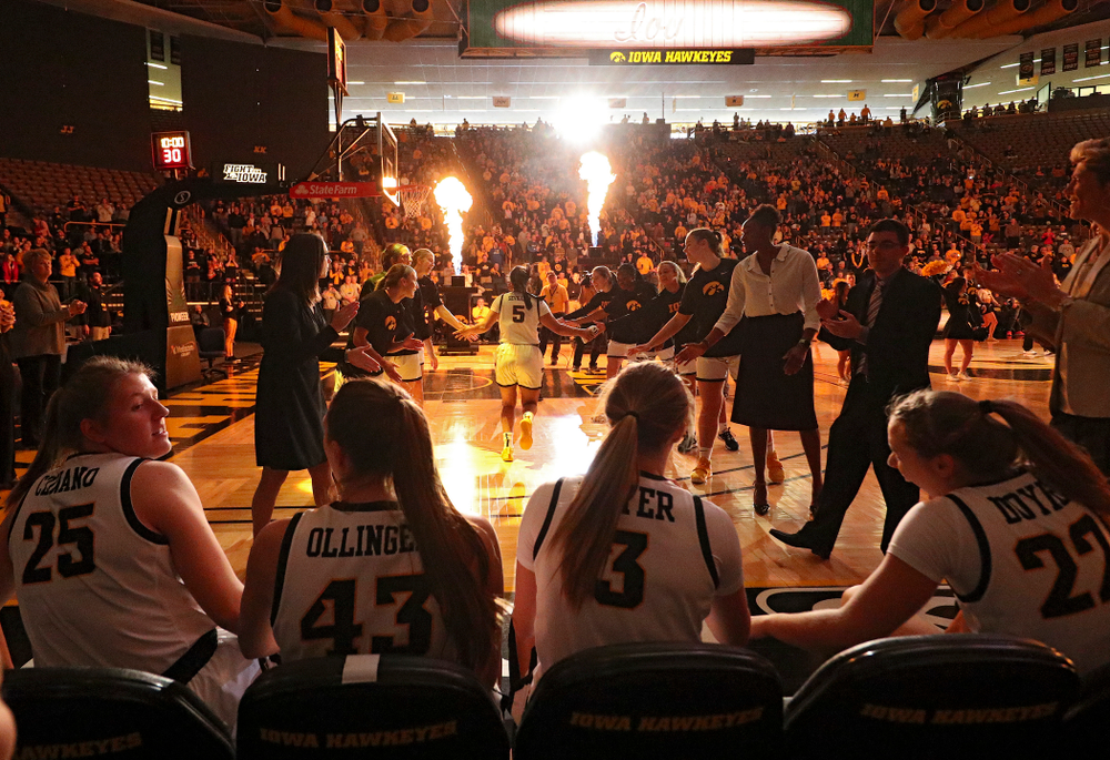 Iowa Hawkeyes guard Alexis Sevillian (5) is introduced before their game at Carver-Hawkeye Arena in Iowa City on Tuesday, December 31, 2019. (Stephen Mally/hawkeyesports.com)