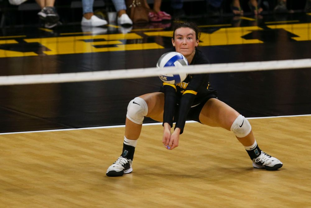 Iowa Hawkeyes defensive specialist Halle Johnston (4) against Coastal Carolina Friday, September 20, 2019 at Carver-Hawkeye Arena. (Lily Smith/hawkeyesports.com)