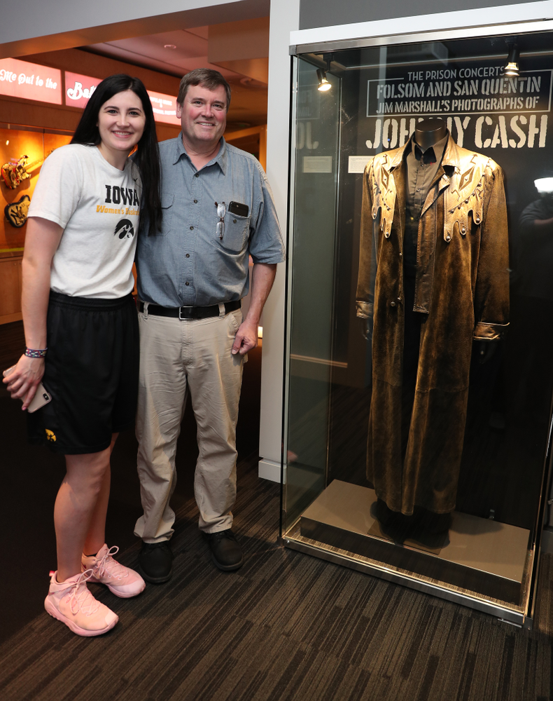 Iowa Hawkeyes forward Megan Gustafson (10) tours the Grammy Museum before the ESPN College Basketball Awards show Friday, April 12, 2019 at The Novo at LA Live.  (Brian Ray/hawkeyesports.com)