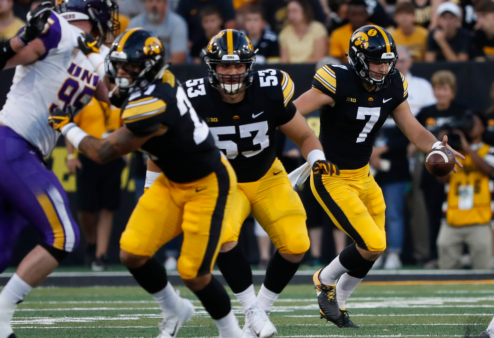 Iowa Hawkeyes punter Colten Rastetter (7) punts the ball during a game against Northern Iowa at Kinnick Stadium on September 15, 2018. (Tork Mason/hawkeyesports.com)