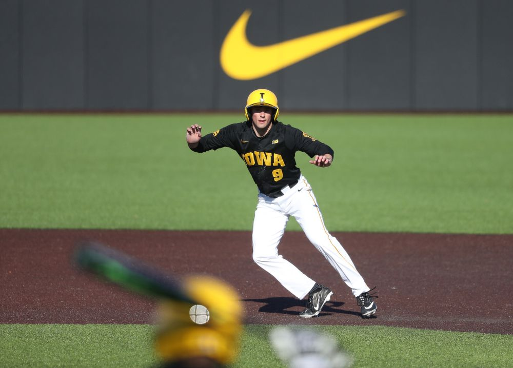 Iowa Hawkeyes outfielder Ben Norman (9) against the Bradley Braves Tuesday, March 26, 2019 at Duane Banks Field. (Brian Ray/hawkeyesports.com)
