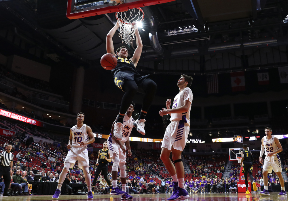 Iowa Hawkeyes forward Ryan Kriener (15) against the Northern Iowa Panthers in the Hy-Vee Classic Saturday, December 15, 2018 at Wells Fargo Arena in Des Moines. (Brian Ray/hawkeyesports.com)