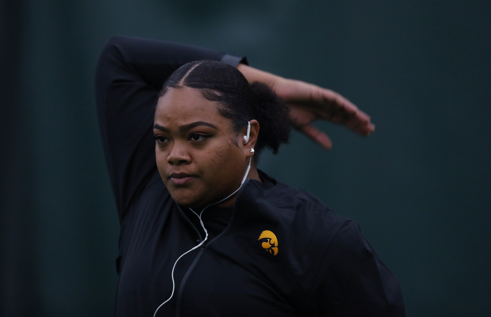 Iowa's Laulauga Tausaga prepares to compete in the weight throw Friday, January 11, 2019 at the Hawkeye Tennis and Recreation Center. (Brian Ray/hawkeyesports.com)