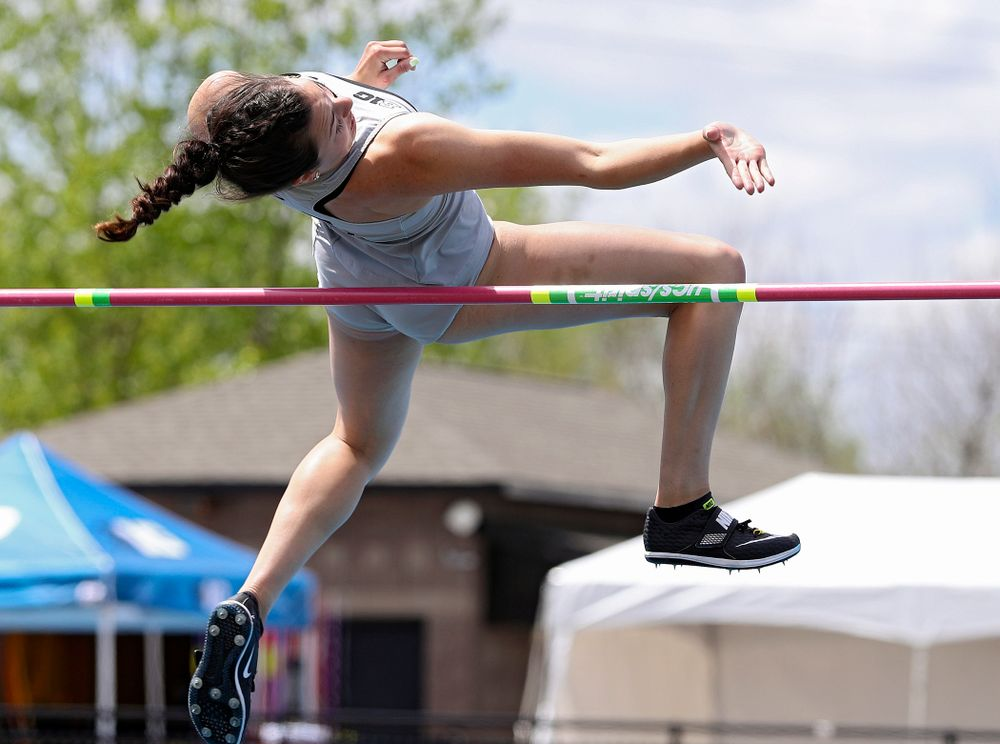 Iowa's Jenny Kimbro jumps during the women's high jump in the heptathlon event on the first day of the Big Ten Outdoor Track and Field Championships at Francis X. Cretzmeyer Track in Iowa City on Friday, May. 10, 2019. (Stephen Mally/hawkeyesports.com)