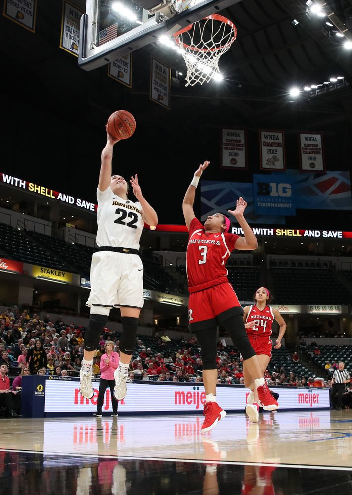 Iowa Hawkeyes guard Kathleen Doyle (22) against the Rutgers Scarlet Knights in the semi-finals of the Big Ten Tournament Saturday, March 9, 2019 at Bankers Life Fieldhouse in Indianapolis, Ind. (Brian Ray/hawkeyesports.com)