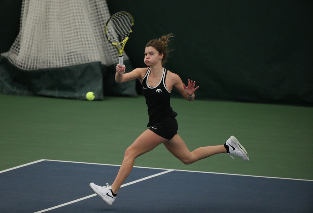 Iowa's Cloe Ruette against the Penn State Nittany Lions Sunday, February 24, 2019 at the Hawkeye Tennis and Recreation Complex. (Brian Ray/hawkeyesports.com)